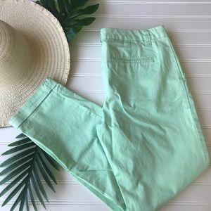 Gap Mint Green Skinny Beoken In Straight Khakis